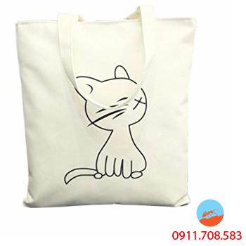 Túi Vải Bố Hình Mèo